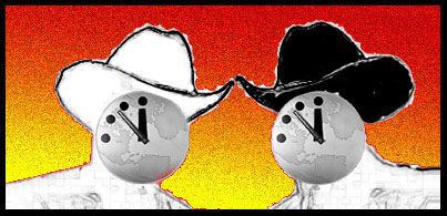Drawing of two heads, side-by-side.  One wears a white cowboy hat, the other a black one.  They both have Doomsday clocks for faces.